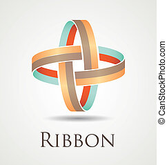 Ribbon Circles - Abstract and modern ribbon icon with two...