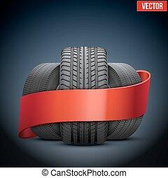 ribbon., concept, pneu, illustration, réaliste, vecteur, roues