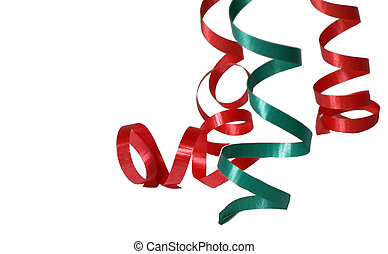 Ribbon - Curly ribbon in red and green