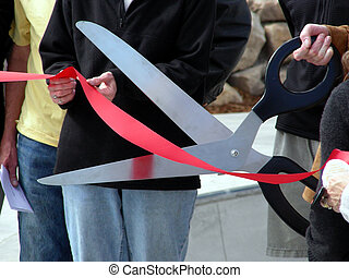 Ribbon Cutting - Ribbon cutting ceremony at a town event