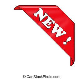 ribbon., czerwony, róg, nowy