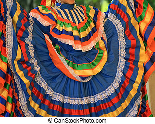 Ribbon Dancer - Dancer shows detail of beautiful traditional...