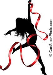 Ribbon dancer - Silhouette of a female dancing with a red...