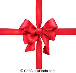 ribbon., dar, odizolowany, bow., biała satyna, czerwony