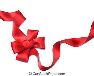 ribbon., dar, osamocený, bow., běloba satén, červeň