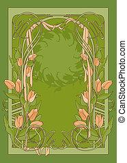 ribbon., deco, arte, tulips, vetorial, modelo, cartaz