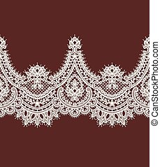 ribbon., dentelle, border., pattern., vecteur, horizontal, blanc