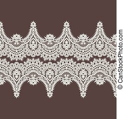 ribbon., dentelle, symétrie, border., pattern., vecteur, horizontal, blanc