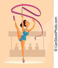 ribbon., donna, appartamento, ginnasta, carattere, illustrazione, vettore, cartone animato