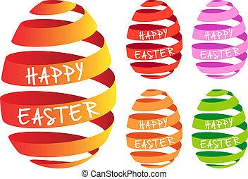 Ribbon Easter eggs, vector set