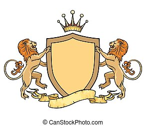 ribbon., emblema, escudo, heraldic, leões, modelo, emblema, ou