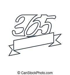 ribbon empty 365 infinity logo icon design illustration outline