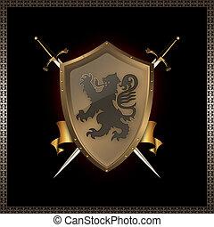 ribbon., espadas, escudo