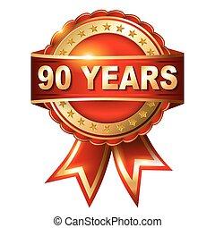 ribbon., etiket, gouden jaren, jubileum, 90