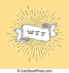 ribbon., exclamer, concept, art, contour, conversation, vendange, négatif, jaune, main, arrière-plan., graphisme, wtf., wtf, dessiné, agressif, icône, ou, étonnement