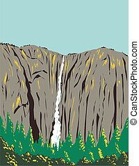Ribbon Falls Flowing Off a Cliff on the West Side of El Capitan Within Yosemite National Park California USA WPA Poster Art