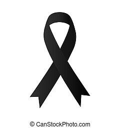 ribbon., fekete daganat, rák, &, fekete, bőr, tudatosság