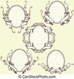 Ribbon frame and border ornaments