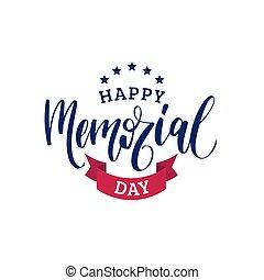 ribbon., gedenkteken, vector., nationale, met de hand geschreven, illustratie, amerikaan, sterretjes, frase, vakantie, dag, vrolijke