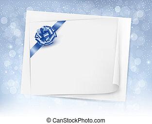 ribbon., geschenk buiging, vector, glanzend, achtergrond, kerstmis