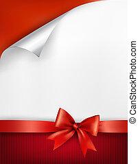 ribbon., geschenk buiging, vector, glanzend, achtergrond, vakantie