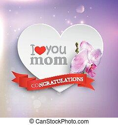 ribbon., giorno, amore, madri, astratto, carta, fondo, mom., vacanza, fiore, orchidea, cuori, concetto, lei