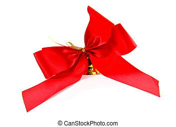 ribbon golden bell with red satin bow isolated on white