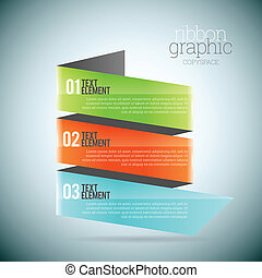 Vector illustration of ribbon graphic copyspace infographic elements.