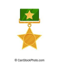 ribbon., gwiazda, złoty, błyszczący, mający kształt, płaski...