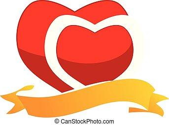 Ribbon Heart Logo Design Template Vector
