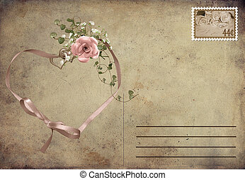 ribbon heart on vintage postcard - Ribbon heart with rose...