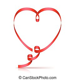 Ribbon Heart - Red ribbon in shape of heart on white...
