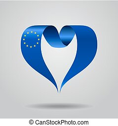 ribbon., heart-shaped, illustration., szegényház lobogó, vektor, európai