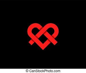 Ribbon heart symbol icon logo with shadows. Line medical vector logotype.