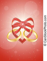 ribbon heart with two gold rings