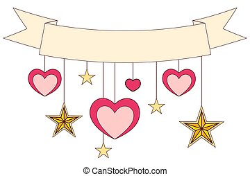 Ribbon, hearts and stars on colorful poster.