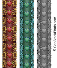 Ribbon hearts Borders Fancy x3