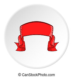 Ribbon icon, cartoon style