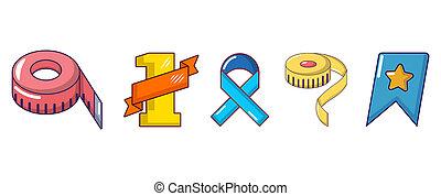 Ribbon icon set, cartoon style