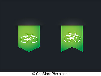 Ribbon icon set with a bicycle