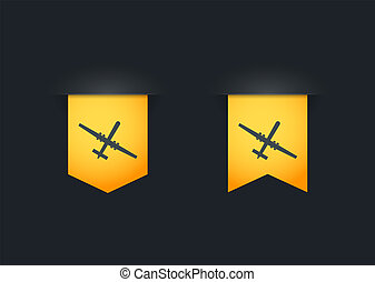 Ribbon icon set with a drone