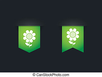 Ribbon icon set with a flower