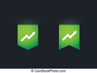 Ribbon icon set with a graph