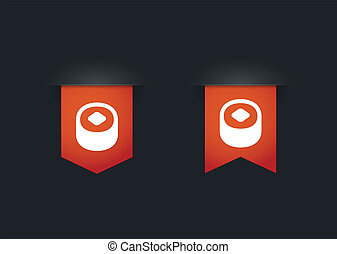 Ribbon icon set with a sushi