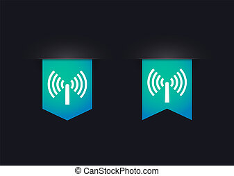 Ribbon icon set with an antenna