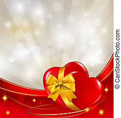 ribbon., illustration., due, fidanzato, fondo., vettore, cuori, giorno, rosso