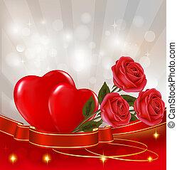 ribbon., illustration., rose, due, fidanzato, fondo., vettore, appendere, cuori, giorno, rosso