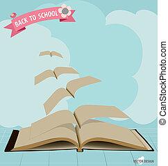 ribbon., illustration., voler, vecteur, livres, ouvert