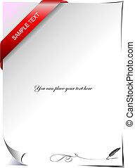 ribbon., ilustração, vetorial, letra, em branco, canto