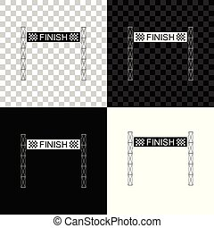 Ribbon in finishing line icon isolated on black, white and transparent background. Symbol of finish line. Sport symbol or business concept. Vector Illustration